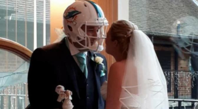 Super-Fan Gets Married Wearing Dolphins Helmet
