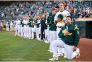 Oakland A's catcher Bruce Maxwell became the first MLB player to kneel during the national anthem Saturday night.