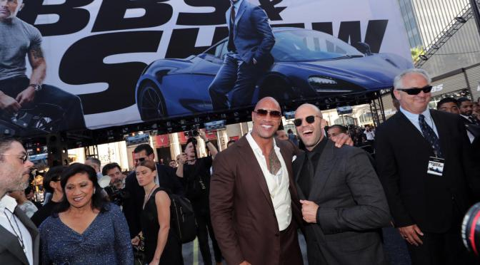 "DWAYNE JOHNSON AND JASON STATHAM ARRIVE IN STYLE AT THE WORLD PREMIERE OF ""HOBBS AND SHAW"""