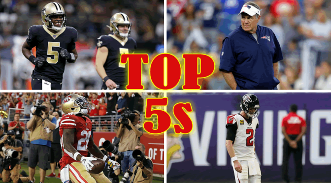 The less common top five lists for the NFL: